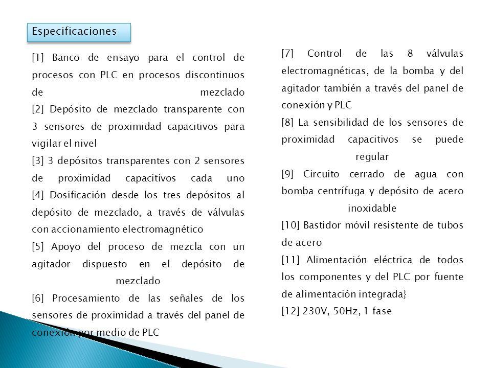Especificaciones [7] Control de las 8 válvulas electromagnéticas, de la bomba y del agitador también a través del panel de conexión y PLC.